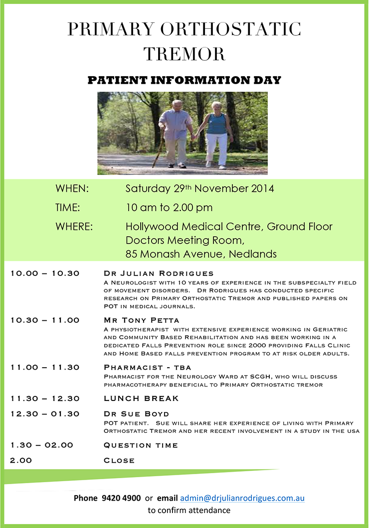 2014 Australia POT Information Day - Your Orthostatic Tremor Community
